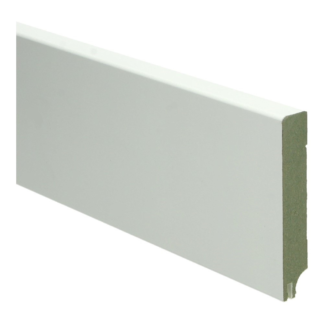 MDF Moderne plint 90×15 wit gel.   uitsparing